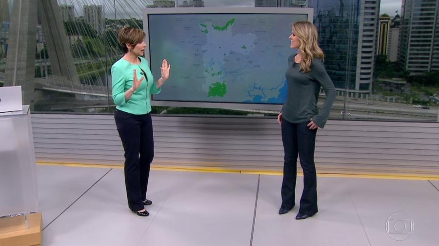 Gloria Vanique e Jacqueline Brazil se corrigem no ar após confundirem chuva com granizo em São Paulo - Reprodução/TV Globo