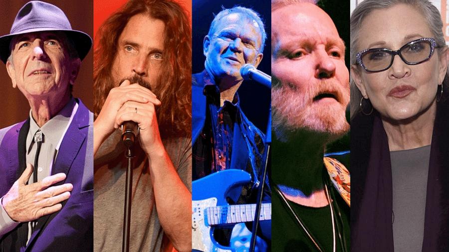 Leonard Cohen, Chris Cornell, Glen Campbell, Gregg Allman e Carrie Fisher; lembrados no Grammy - Getty Images/Reprodução/Montagem