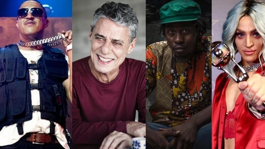 Mano Brown, Chico Buarque, Rincon Sapiência e Pabllo Vittar levaram o APCA de Música em 2017 - Montagem UOL