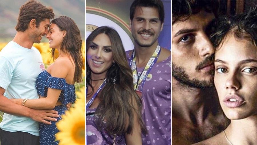 Casais que sobem ao altar em 2018: Isis Valverde e André Resende; Nicole Bahls e Marcelo Bimbi; e Laura Neiva e Chay Suede - Reprodução/Instagram