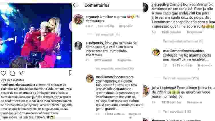"""Marília Mendonça homenageia Neymar, que responde. Seguidora criticou a cantora ao chamar o craque de """"ídolo"""" - Reprodução/Instagram - Reprodução/Instagram"""