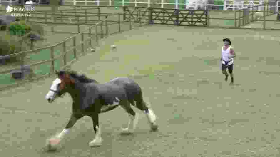 Lucas brinca com o cavalo Lion em A Fazenda 2019 - Reprodução/PlayPlus