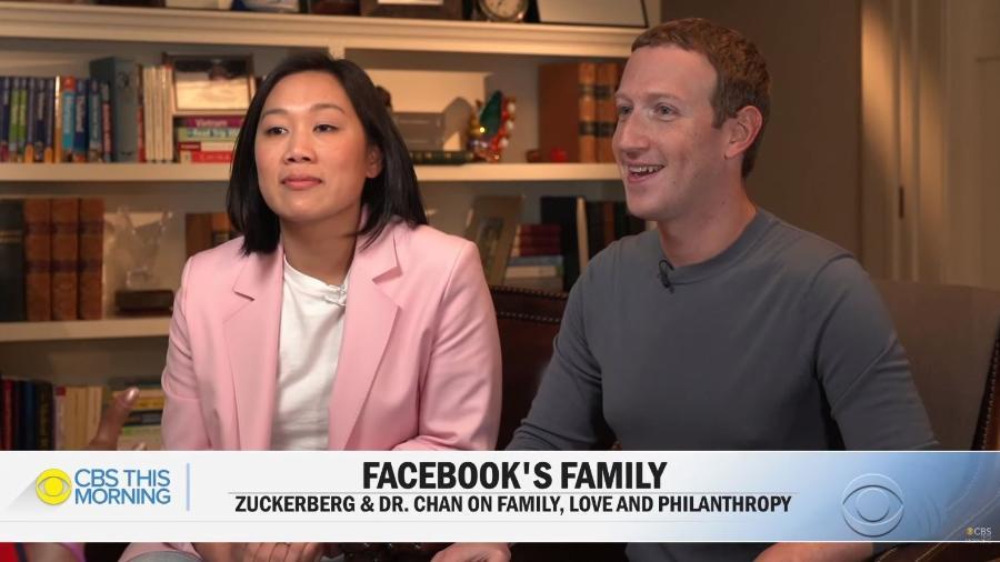 Mark Zuckerberg e Priscilla Chan - Reprodução/CBS