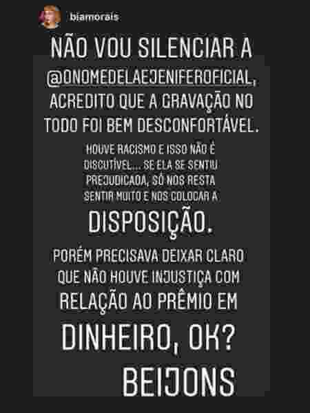 """Bia Morais lamenta suposto caso de racismo contra colega no """"Programa Silvio Santos"""" - Reprodução/Instagram"""