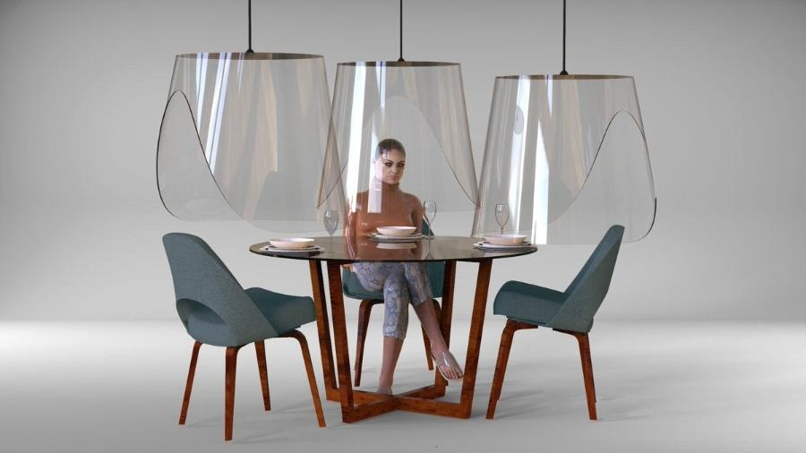 """Plex""""Eat, viseiras de acrílico para restaurantes criadas pelo designer Christophe Gernigon - Divulgação"""