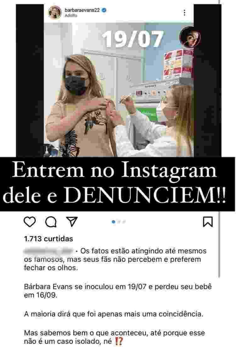Perfil denunciado por Bárbara Evans no Instagram - Reprodução/Instagram - Reprodução/Instagram