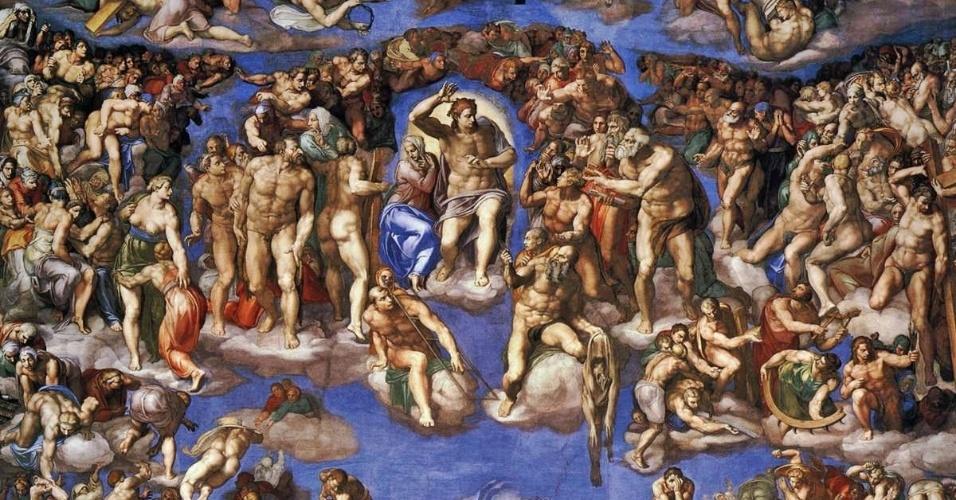Detalhes do afresco de Michelangelo na Capela Sistina, o Juízo Final, mostra beijos gays