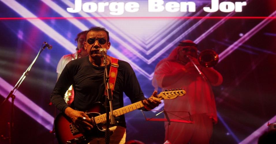 09.fev.2016 - Jorge Ben Jor faz show no camarote Allegria, no Carnaval 2016 do Rio de Janeiro