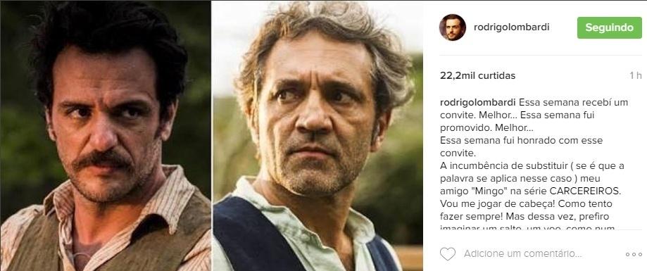 Rodrigo Lombardi assume papel de Domingos Montagner na série