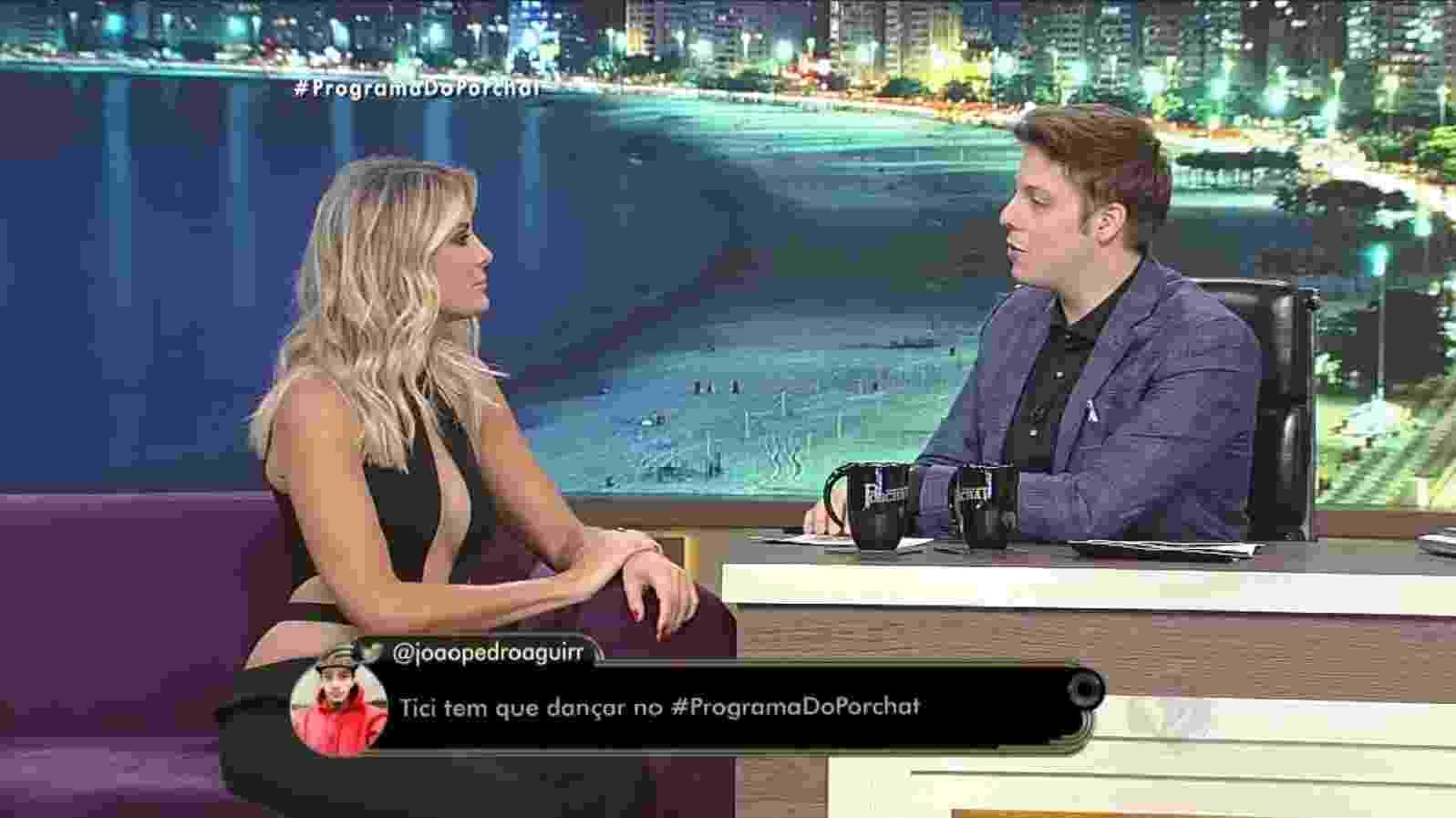 """18.out.2016 - Ticiane Pinheiro fala sobre sua vida amorosa em entrevista ao """"Programa do Porchat"""" - Reprodução /TV Record"""