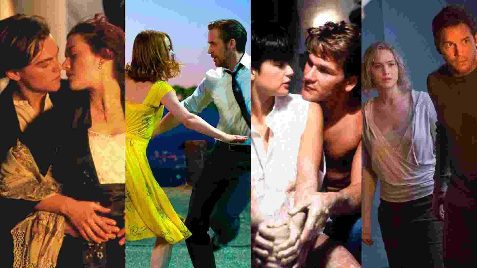 """Cenas dos filmes """"Titanic"""" (1997), de James Cameron, """"La La Land: Cantando Estações"""" (2016), de Damien Chazelle, """"Ghost: Do Outro Lado da Vida"""" (1990), de Jerry Zucker e """"Passageiros"""" (2016), de Morten Tyldum - Reprodução/Montagem"""