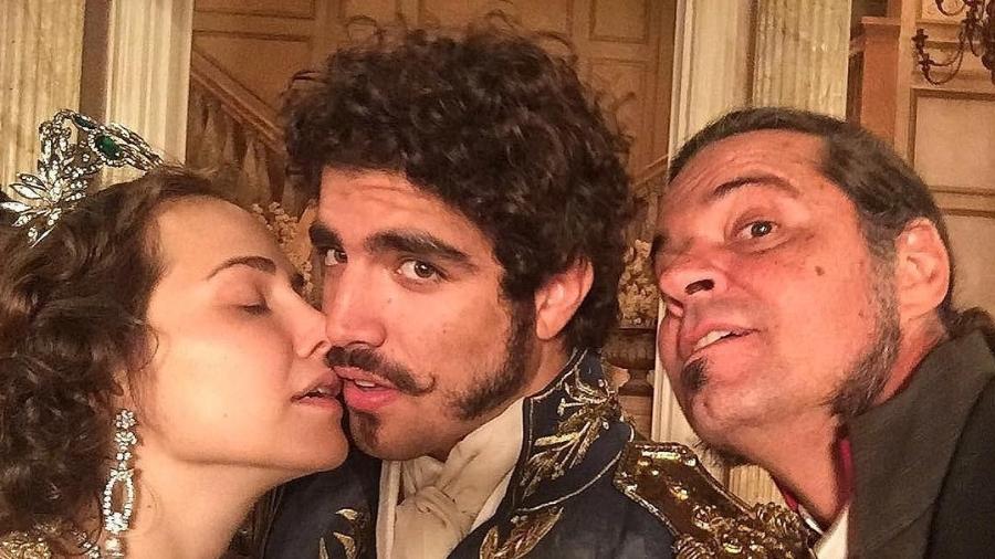 Leopoldina (Letícia Colin), Dom Pedro (Caio Castro) e Bonifácio (Felipe Camargo) - Reprodução/Instagram