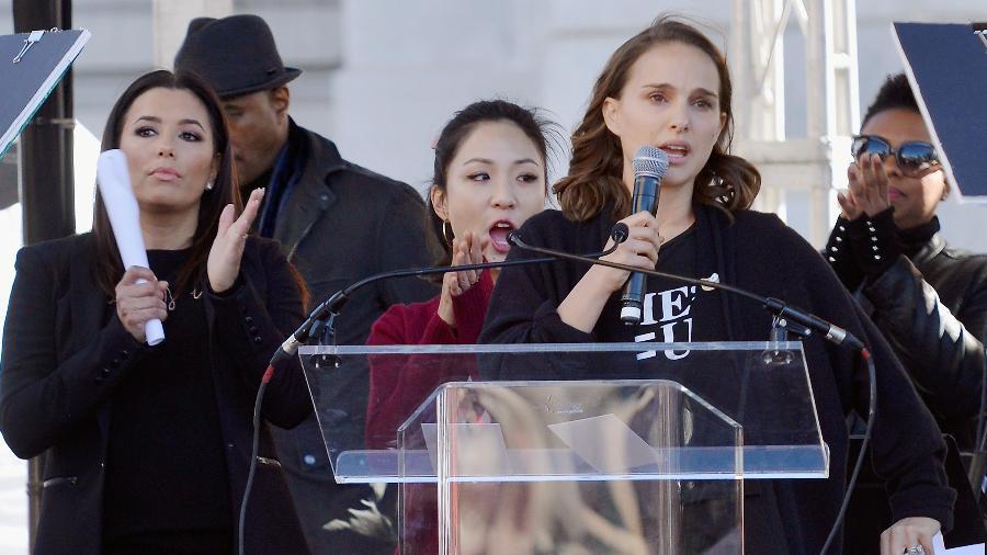 Natalie Portman discursa na Marcha das Mulheres, em Los Angeles - Chelsea Guglielmino/Getty Images