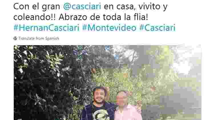 'Com o grande Casciari em casa, são e salvo! Abraços de toda a família', diz a legenda da foto postada por Artigas no Twitter  - Twitter/Reprodução - Twitter/Reprodução
