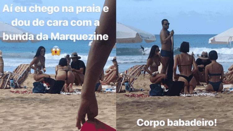 A fã Thaís Xavier encontrou Bruna Marquezine na praia em Fernando de Noronha - Reprodução/Instagram - Reprodução/Instagram