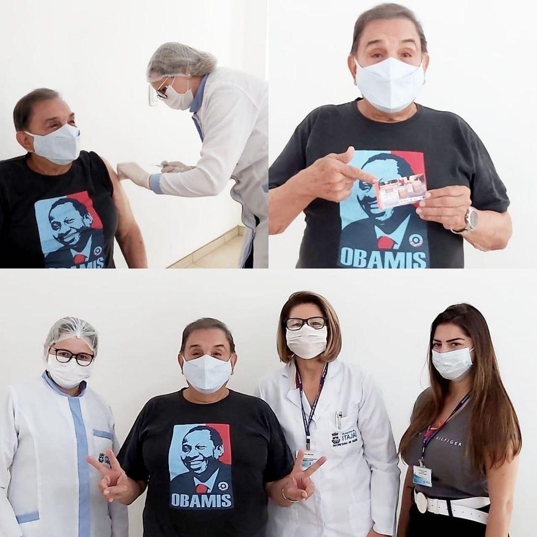 Dedé Santana recebe vacina contra covid-19 - Reprodução/Instagram