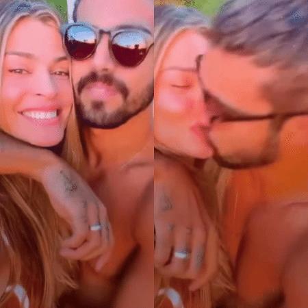 Grazi Massafera filma Caio Castro antes de ganhar um beijo do namorado - Reprodução / Instagram