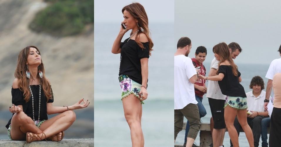 3.jul.2015- Sabrina Sato medita e anda de skate em gravação na praia do Recreio dos Bandeirantes, zona oeste do Rio