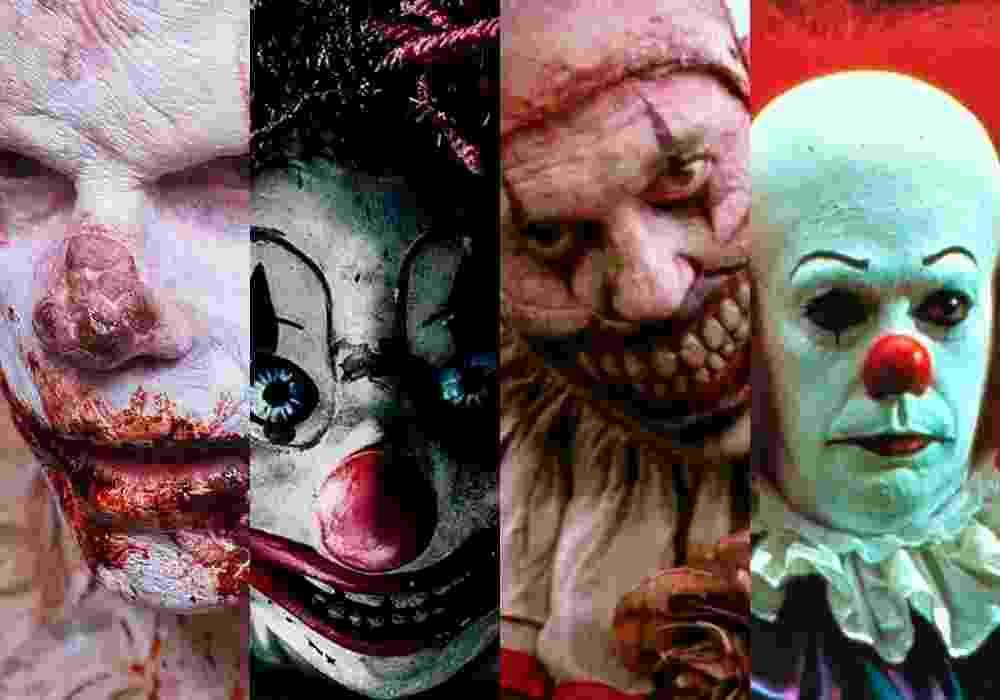"""Cenas dos filmes """"Clown"""" (2014), """"Poltergeist: O Fenômeno"""" (2015), da série """"História de Horror Americana"""" (2011) e do filme """"It: Uma Obra Prima do Medo"""" (1990) - Reprodução/Montagem"""