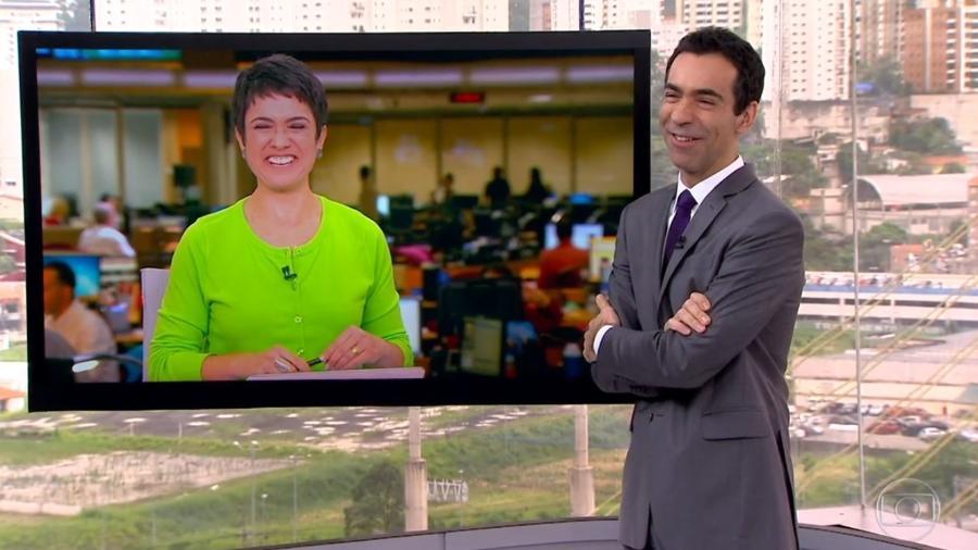 César Tralli faz confusão e erra o nome de Sandra Annenberg - Reprodução/TV Globo