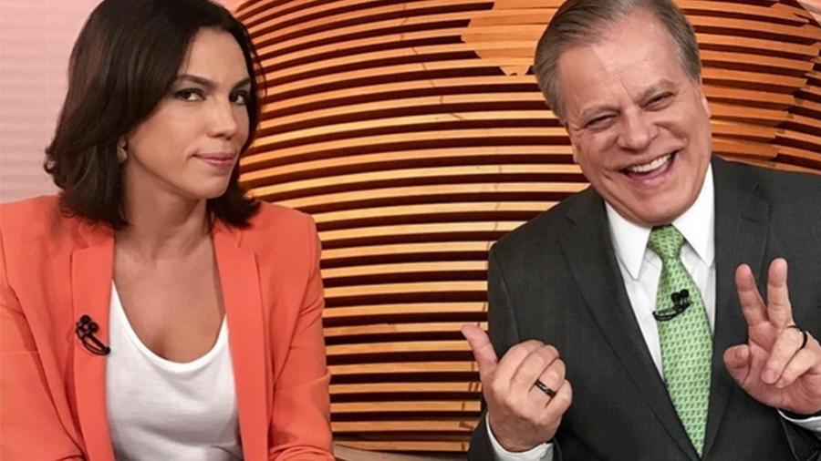"""Ana Paula Araújo e Chico Pinheiro nos bastidores do """"Bom Dia Brasil"""" - Reprodução/Instagram"""