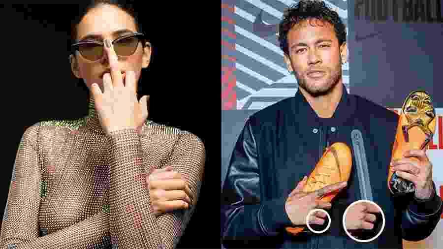 """O queridinho casal Brumar tatuou um coração no dedo para selar o amor dos dois. Bruna Marquezine fez o desenho no dedo anelar no ano passado, já Neymar preferiu tatuar o dedo mindinho e mostrou a novidade em janeiro deste ano no Instagram com uma mensagem para a namorada: """"Saudade de nós..."""" - Reprodução/Instagram"""
