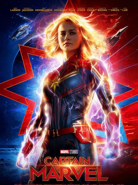 """Brie Larson em pôster de """"Capitã Marvel"""" - Reprodução"""