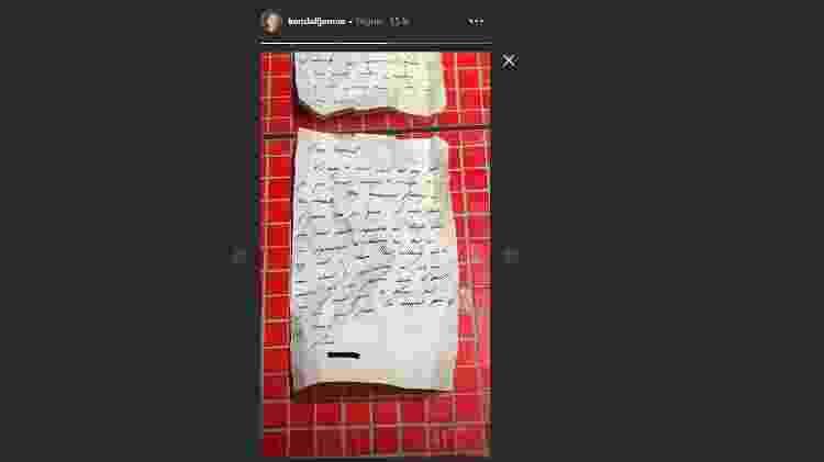 Carta de amor para Kendall - Reprodução/Stories  - Reprodução/Stories