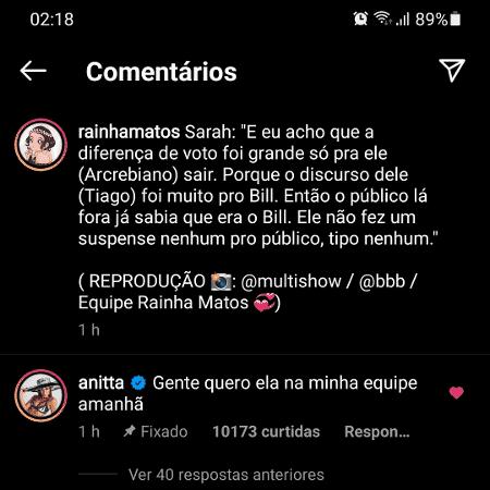 BBB 21: Anitta comentou a publicação de um Instagram sobre vida dos famosos - Reprodução/Instagram - Reprodução/Instagram