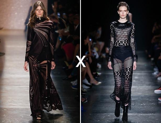 À esquerda, look da Lilly Sarti e à direita, da Helô Rocha - Alexandre Schneider/UOL