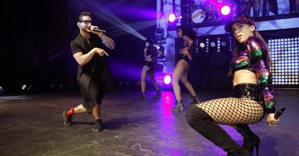 O clima foi quente no show de Anitta e o colombiano Maluma no Vivo Rio, na capital fluminense