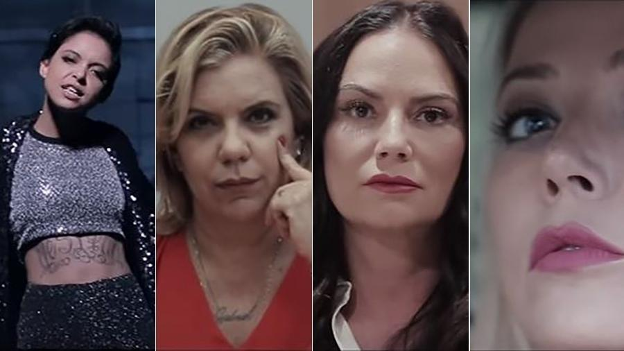 "Kell Smith, Astrid Fontenelle, Luiza Brunet e Luiza Possi estão no videoclipe ""Respeita as Mina"" - Montagem/UOL"