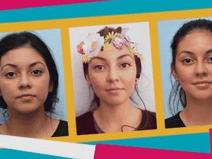 Crystal antes e depois de procedimento: Ela injetou preenchimentos faciais no nariz e embaixo dos olhos para ficar mais parecida com selfie em que usa filtro (na foto do centro) | Fotos e ilustrações de Rebecca Hendin / David Mabrie / Getty / BBC Three - BBC Three