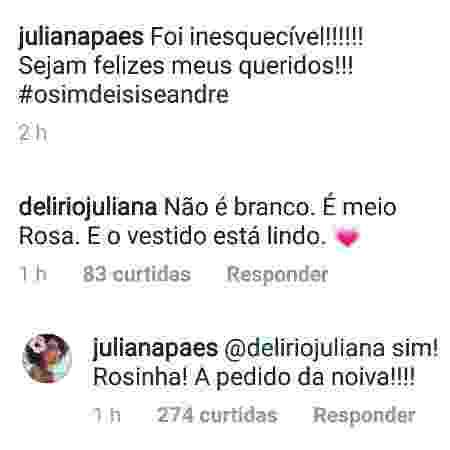 Juliana Paes esclarece que o vestido usado por ela no casamento de Isis Valverde é rosa - Reprodução/Instagam/julianapaes