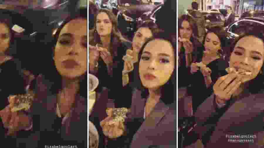 Izabel Goulart, Manu Gavassi e Bruna Marquezine em restaurante em Paris - Reprodução/Instagram
