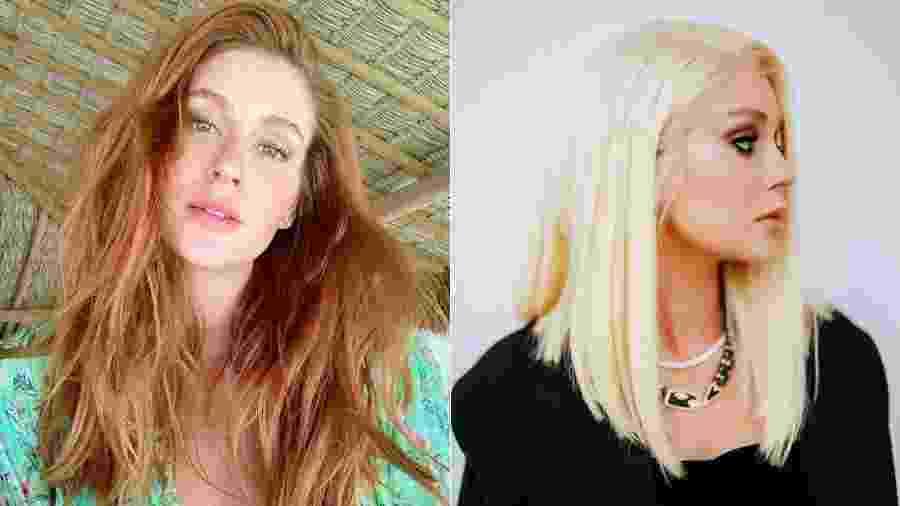 """Marina Ruy Barbosa antes e depois de """"novo visual"""": a atriz usou uma peruca loira em uma ação promocional - Reprodução/Instagram"""