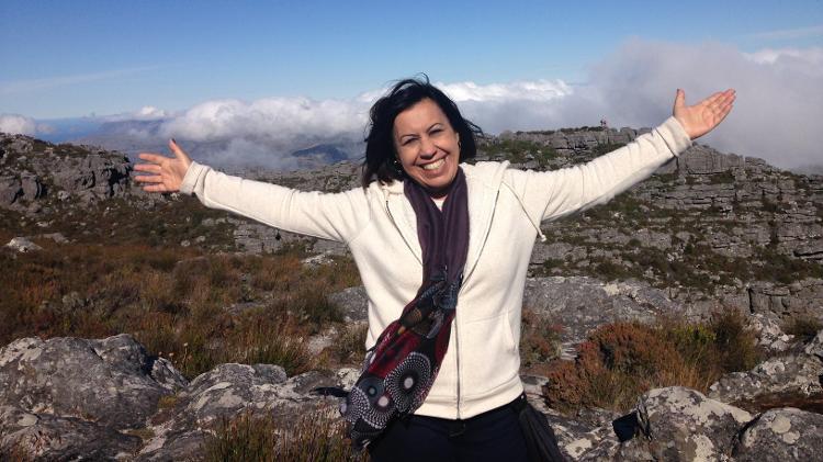 Jussara na Table Mountain, montanha na África do Sul - Arquivo pessoal