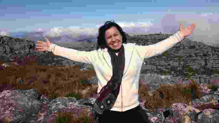Jussara na Table Mountain, na África do Sul - Arquivo pessoal - Arquivo pessoal
