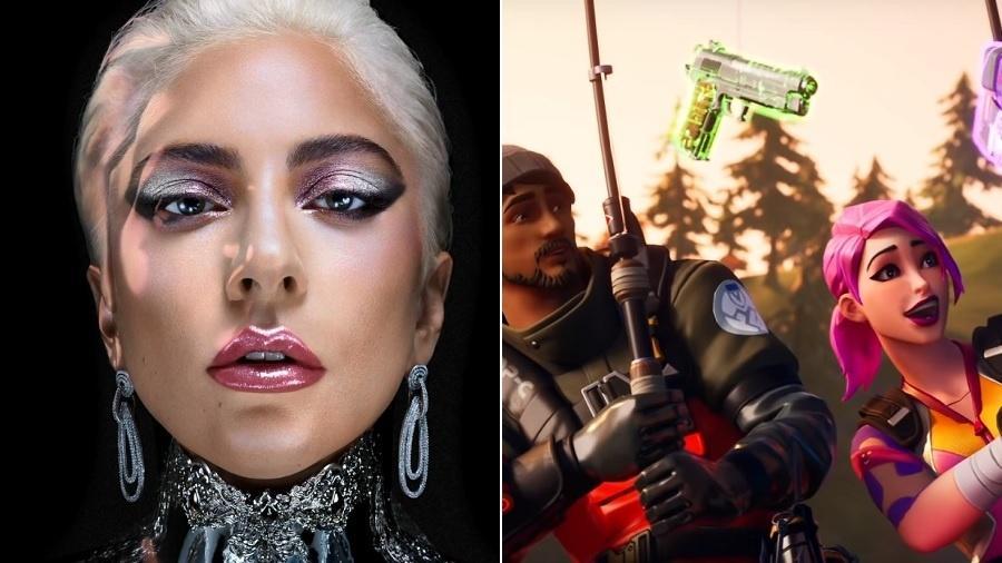 Lady Gaga e Fortnite... ou seria Fortnight? - Montagem/UOL