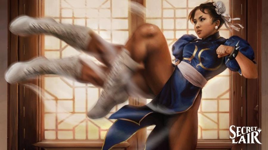 Chun Li, de Street Fighter, na coleção Secret Lair de Magic the Gathering - Divulgação/Wizards of the Coast