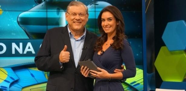 Milton Neves e Larissa Erthal, apresentadores do programa 3° Tempo, na Band - Divulgação/TV Bandeirantes