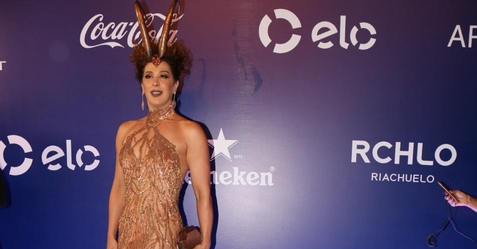 16.fev.2017 -  Claudia Raia no Baile de Carnaval da Vogue, no hotel Unique, em São Paulo
