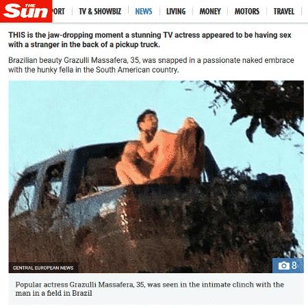 """The Sun repercute cena de sexo em """"O Outro Lado do Paraíso"""", mas chama Grazi Massafera de """"Grazulli"""" - Reprodução/The Sun"""