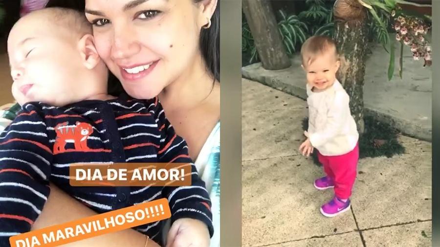 Thais Fersoza abraçada a Teo e a pequena Melinda encantada com flores - Reprodução/Instagram/YouTube