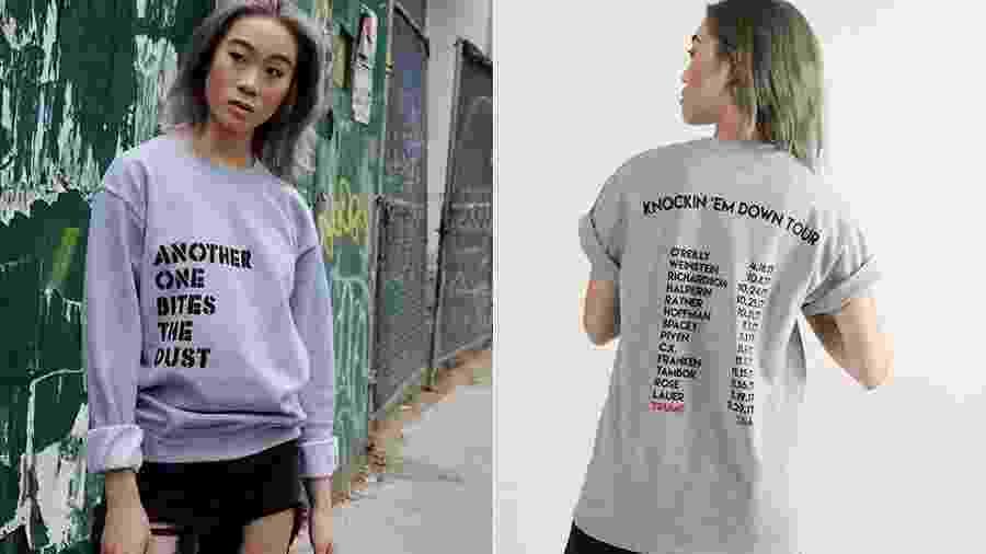 Blusão e camiseta com nomes dos famosos acusados de assédio - Divulgação