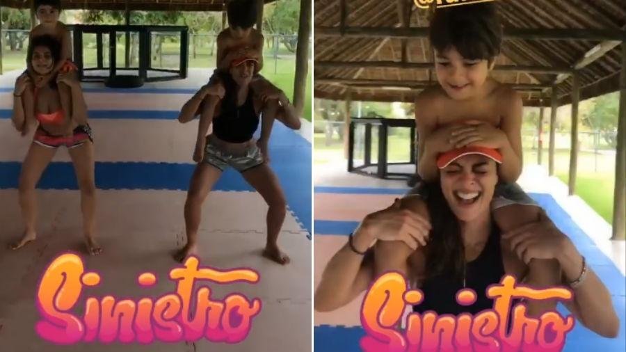 Juliana Paes treina com o filho nos ombros - Reprodução/Instagram