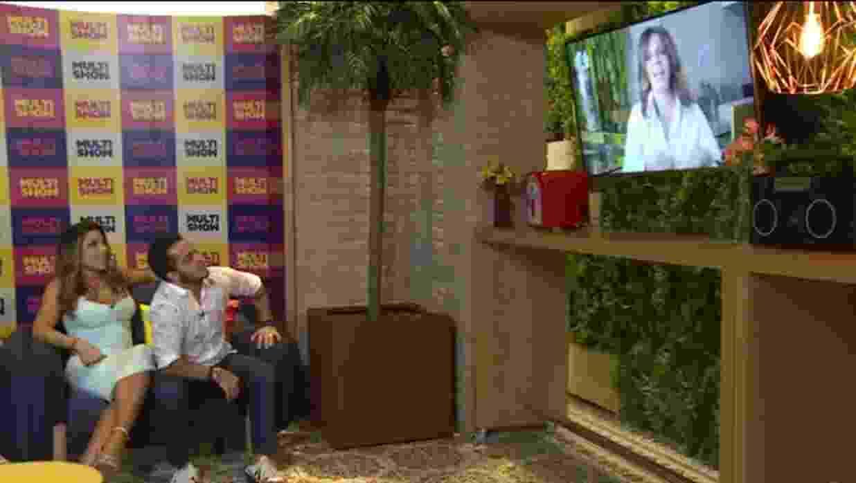 A família --composta por Gretchen, o marido, Thammy, a namorada, Andressa, Sula Miranda, entre outros-- acompanhou ao primeira episódio cerca de trinta minutos antes de sua estreia oficial na TV - Reprodução/multishow.com.br