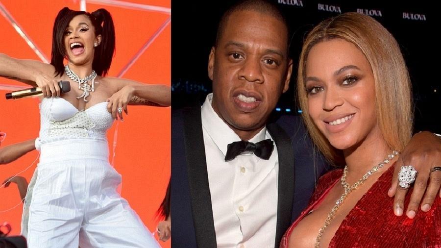 Cardi B e casal Beyoncé-Jay-Z  - Getty/Reprodução/Montagem