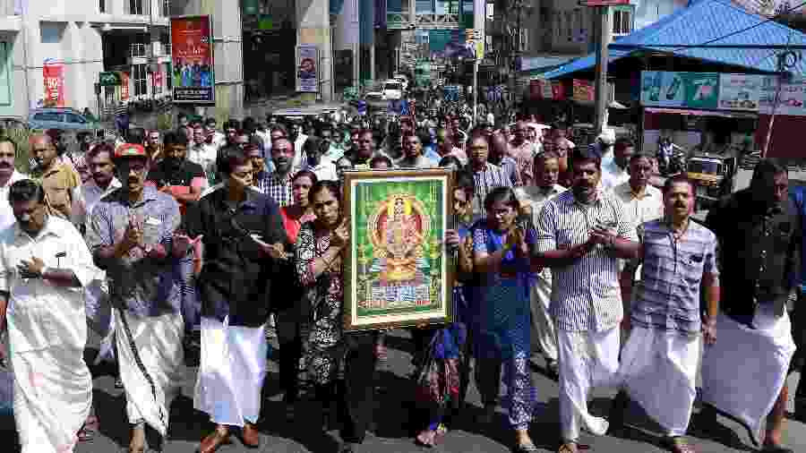 A entrada de duas mulheres no templo indiano causou ondas de protestos no estado de Kerala - AFP