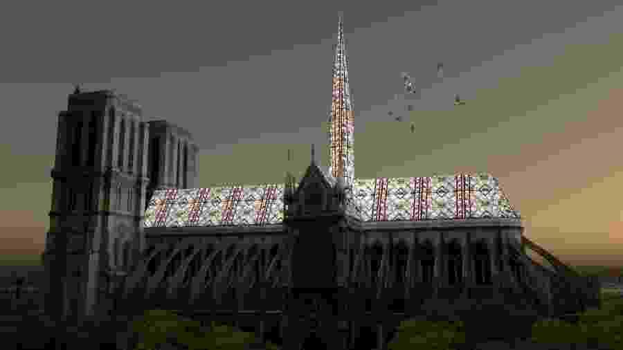 Projeto feito pelo brasileiro Alexandre Fantozzi para os vitrais da catedral de Notre-Dame, que está sendo reconstruída - Reprodução/Instagram